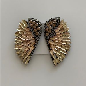 Statement bohemian angel wing vintage earrings